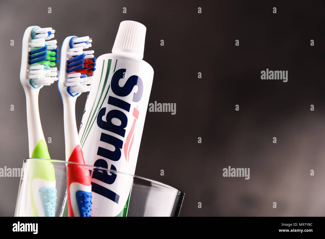 POZNAN, POLAND - FEB 14, 2018: Signal, a brand of toothpaste produced by the Unilever company, in some countries sold also as Pepsodent, Mentadent, Zh - Stock Image
