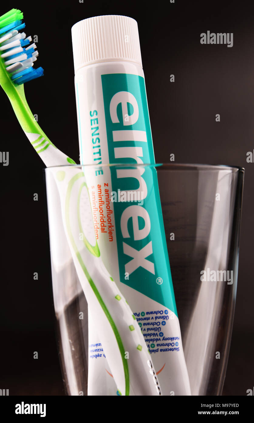POZNAN, POLAND - MAR 1, 2018: Elmex toothpaste, a brand of oral care products manufactured by GABA International AG in Therwil, Switzerland, a company - Stock Image