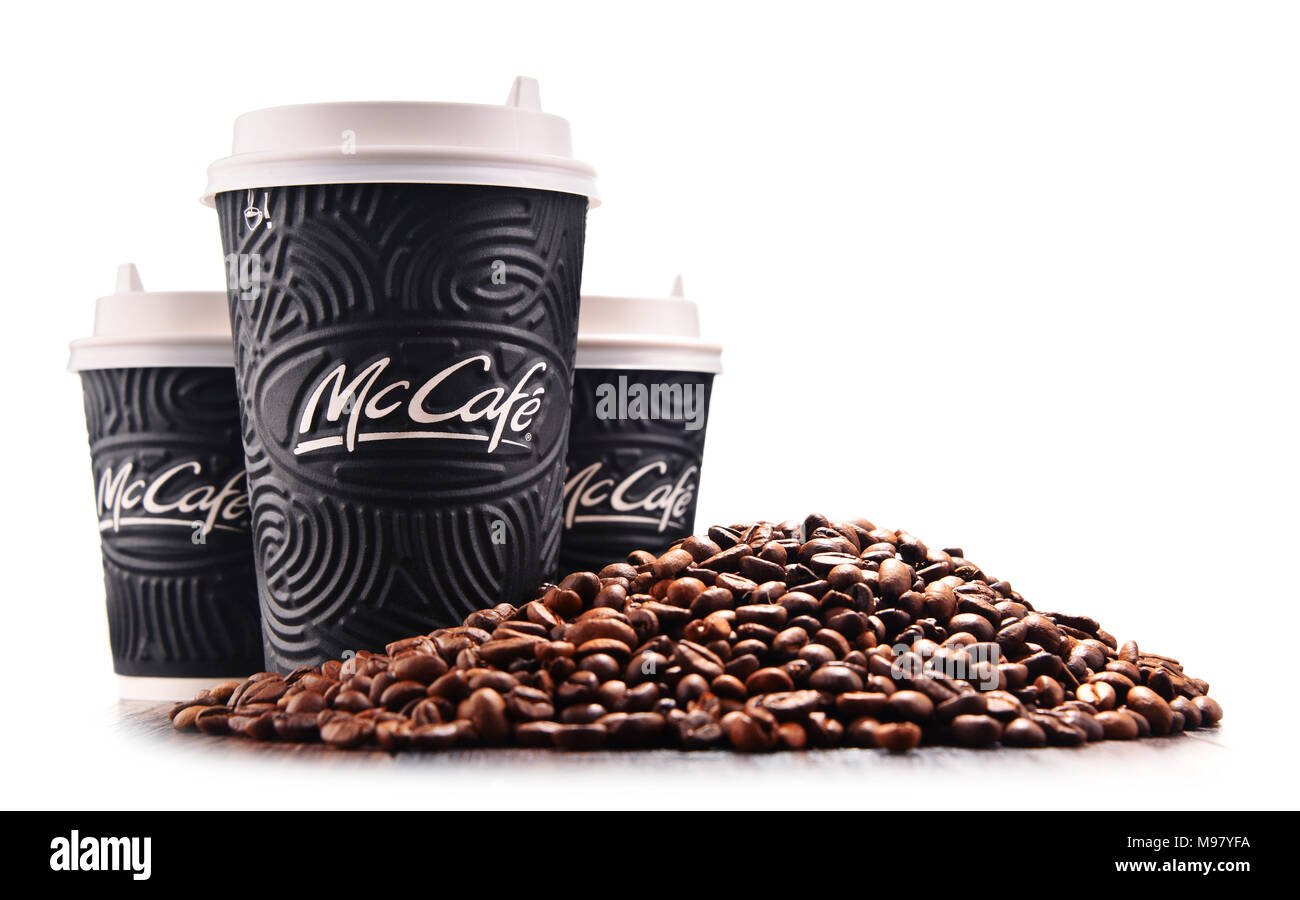 POZNAN, POLAND - MAR 7, 2018: McCafe cup of coffee, a brand of a coffee-house-style food and drink chain, owned by McDonald's. - Stock Image