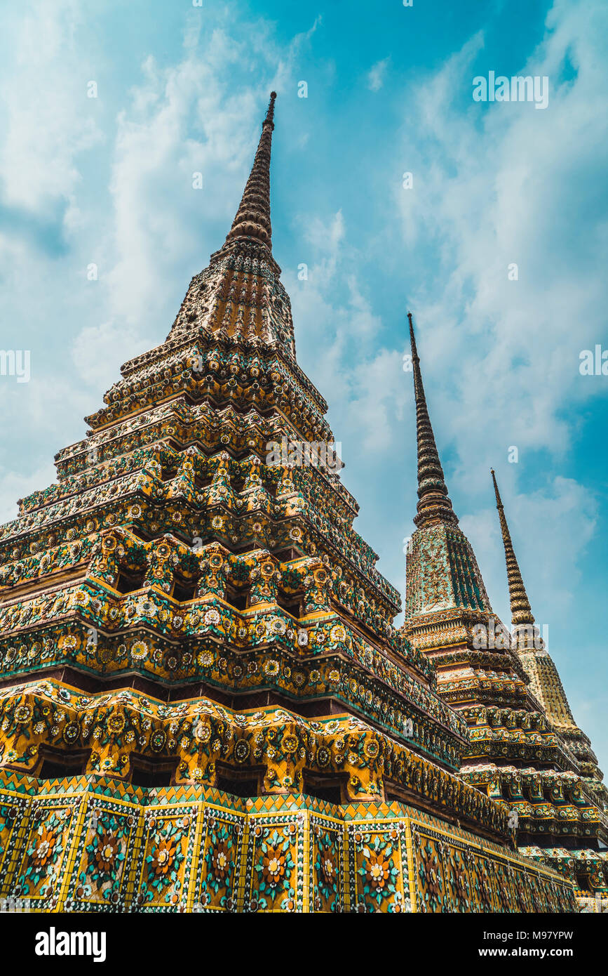 Thailand, Bangkok, pagodas of Wat Pho temple Stock Photo