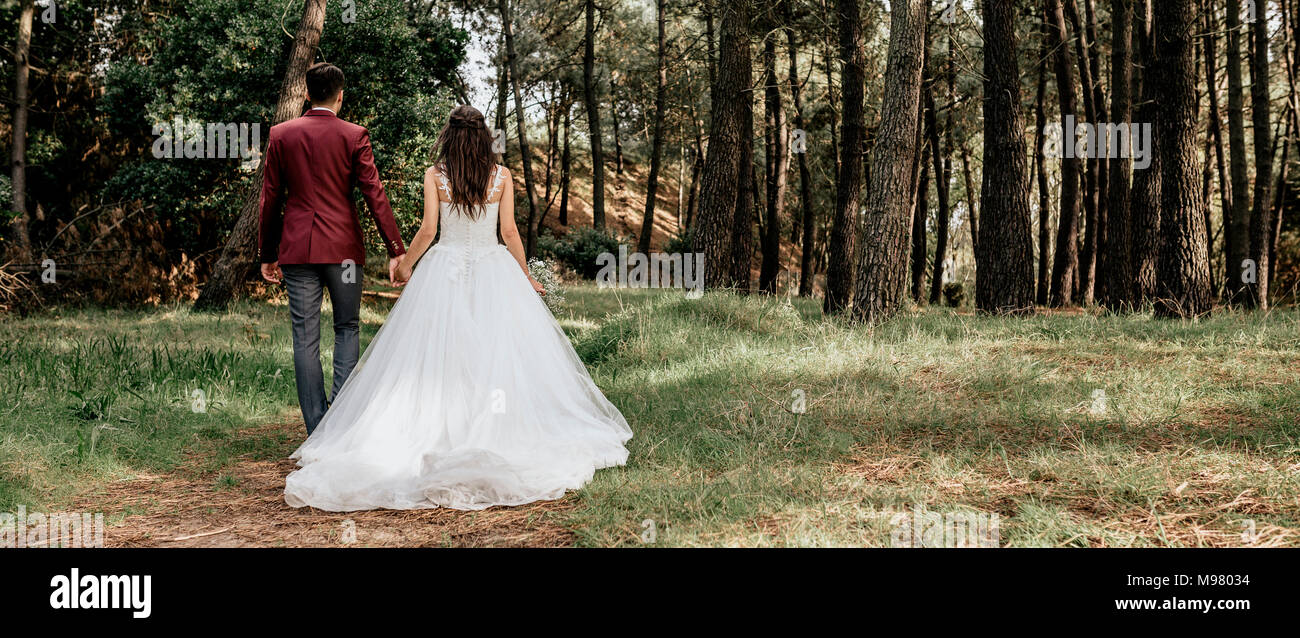 Back view of bride and groom walking in forest - Stock Image
