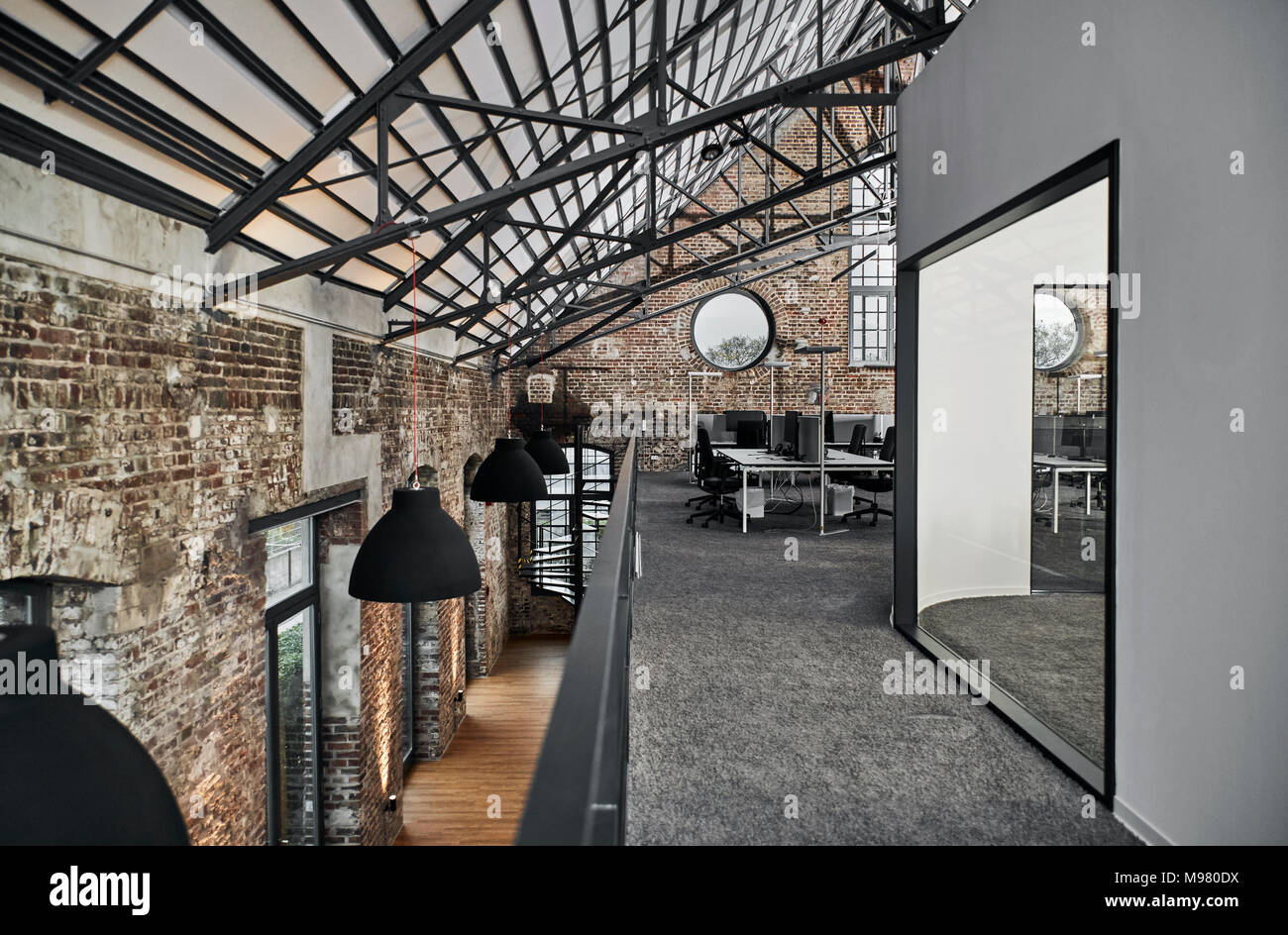 Modern office in old factory - Stock Image