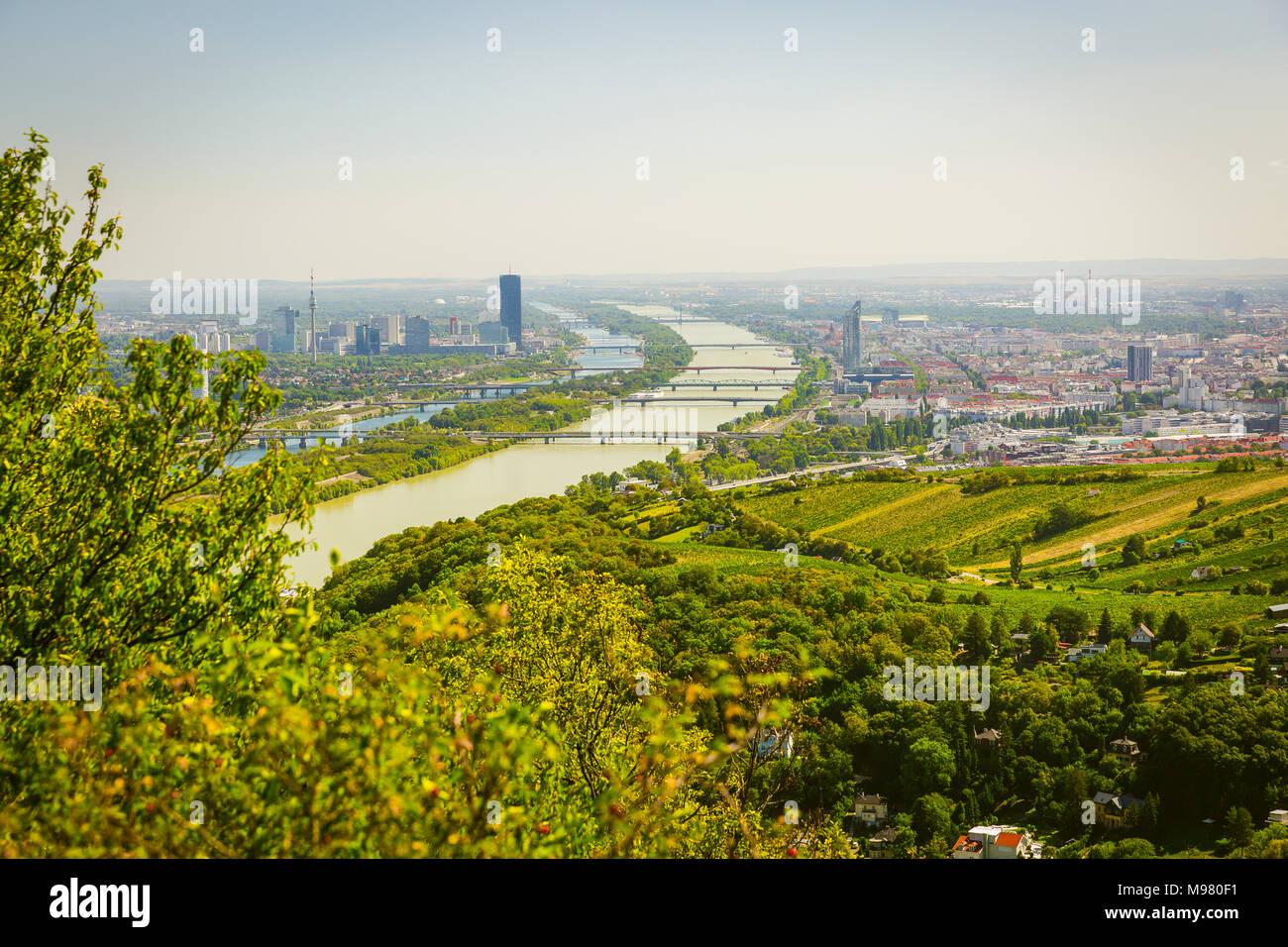 Blick auf Wien und Donau vom Leopoldsberg, Wien, Österreich - Stock Image