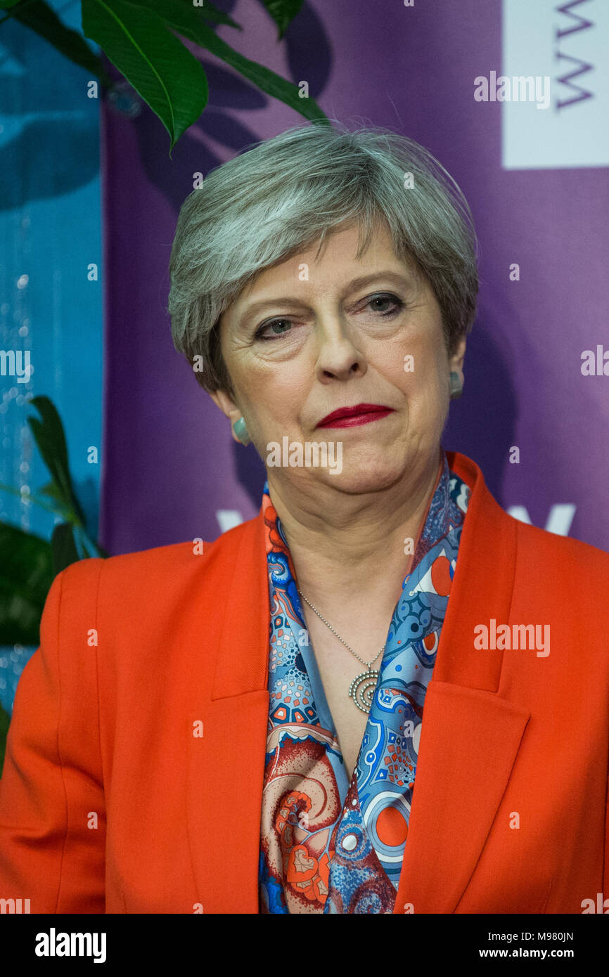 Maidenhead, UK. 8th June, 2017. Theresa May waits to make her acceptance speech as she is reelected as the Member of Parliament for Maidenhead. - Stock Image