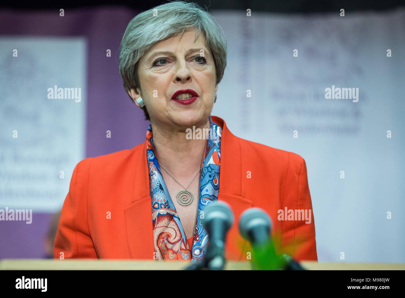 Maidenhead, UK. 8th June, 2017. Theresa May makes her acceptance speech as she is reelected as the Member of Parliament for Maidenhead. - Stock Image