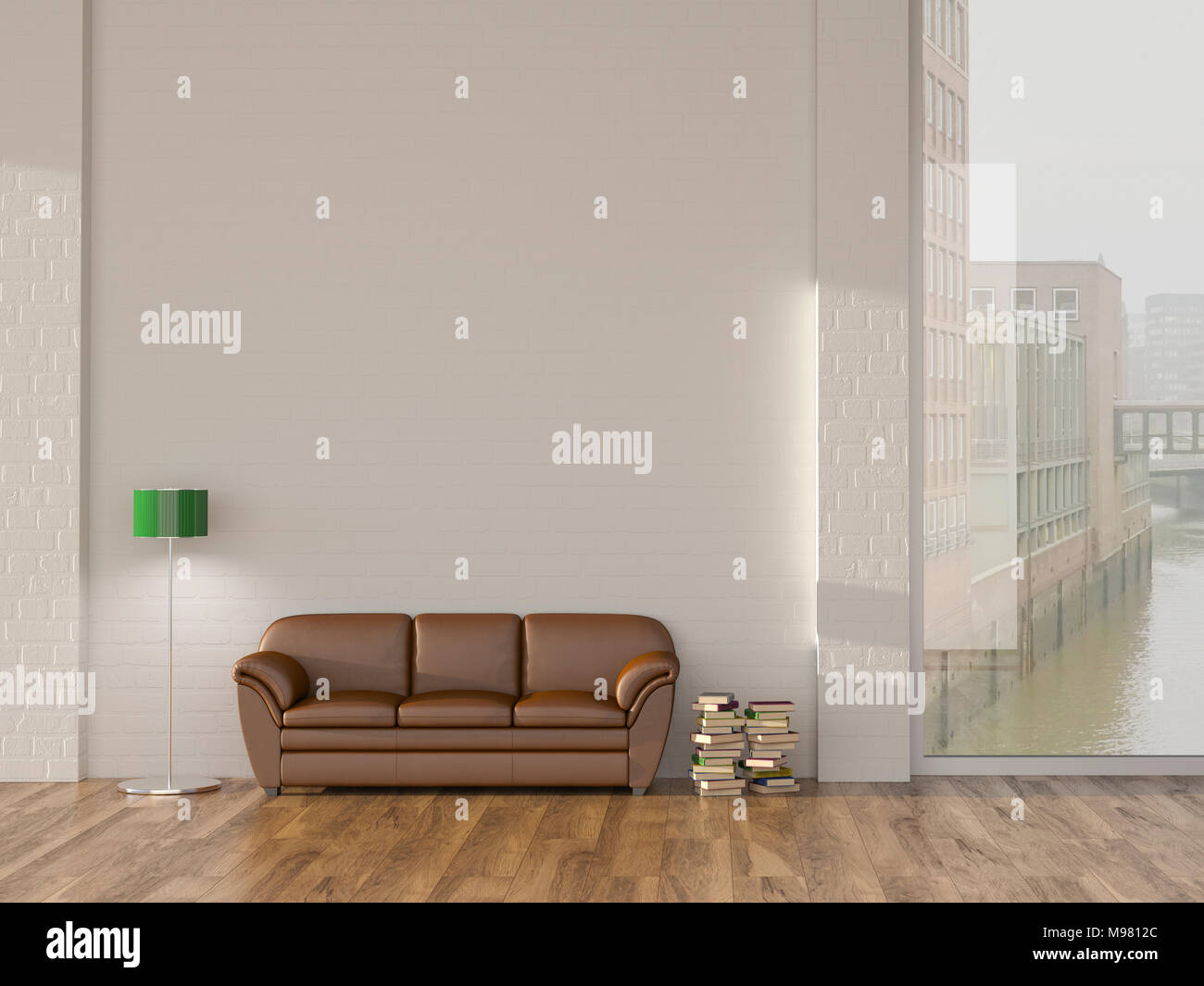 Floor lamp and sofa in room with books andview on Hamburg Speicherstadt, 3d rendering Stock Photo