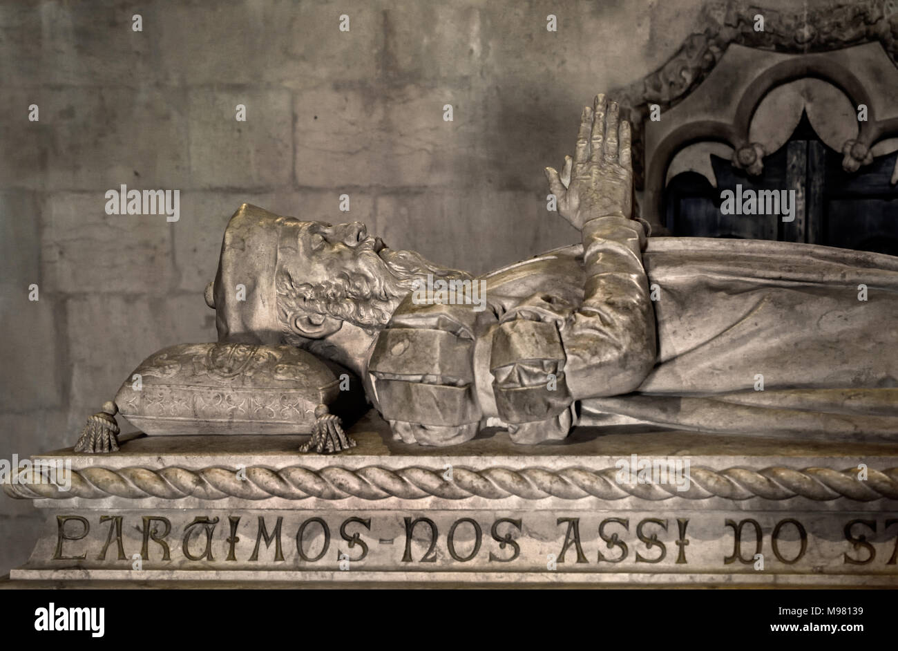 Tomb of Vasco da Gama 1460 - 1524 Portuguese explorer and the first European to reach India by sea. The Jerónimos Monastery (1469–1521)  Hieronymites Monastery, is a former cloister-convent of the Order of Saint Jerome near the Tagus river in the parish of Belém ( The monastery is one of the most prominent examples of the Portuguese Late Gothic Manueline style of architecture in Lisbon.) Portuguese, Portugal. - Stock Image