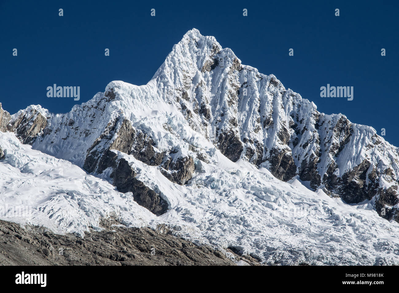 Khumbu glacier with Nuptse and Mount Everest seen from Kala Pattar - Stock Image