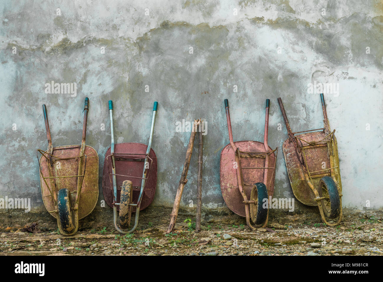 Four old wheelbarrows leaning against wall - Stock Image
