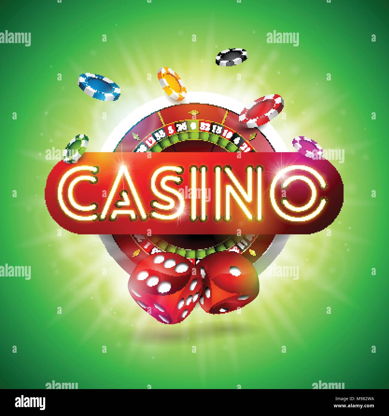 Casino illustration with shiny neon light letter and roulette wheel casino illustration with shiny neon light letter and roulette wheel on green background vector gambling design for invitation or promo banner with dice stopboris Choice Image