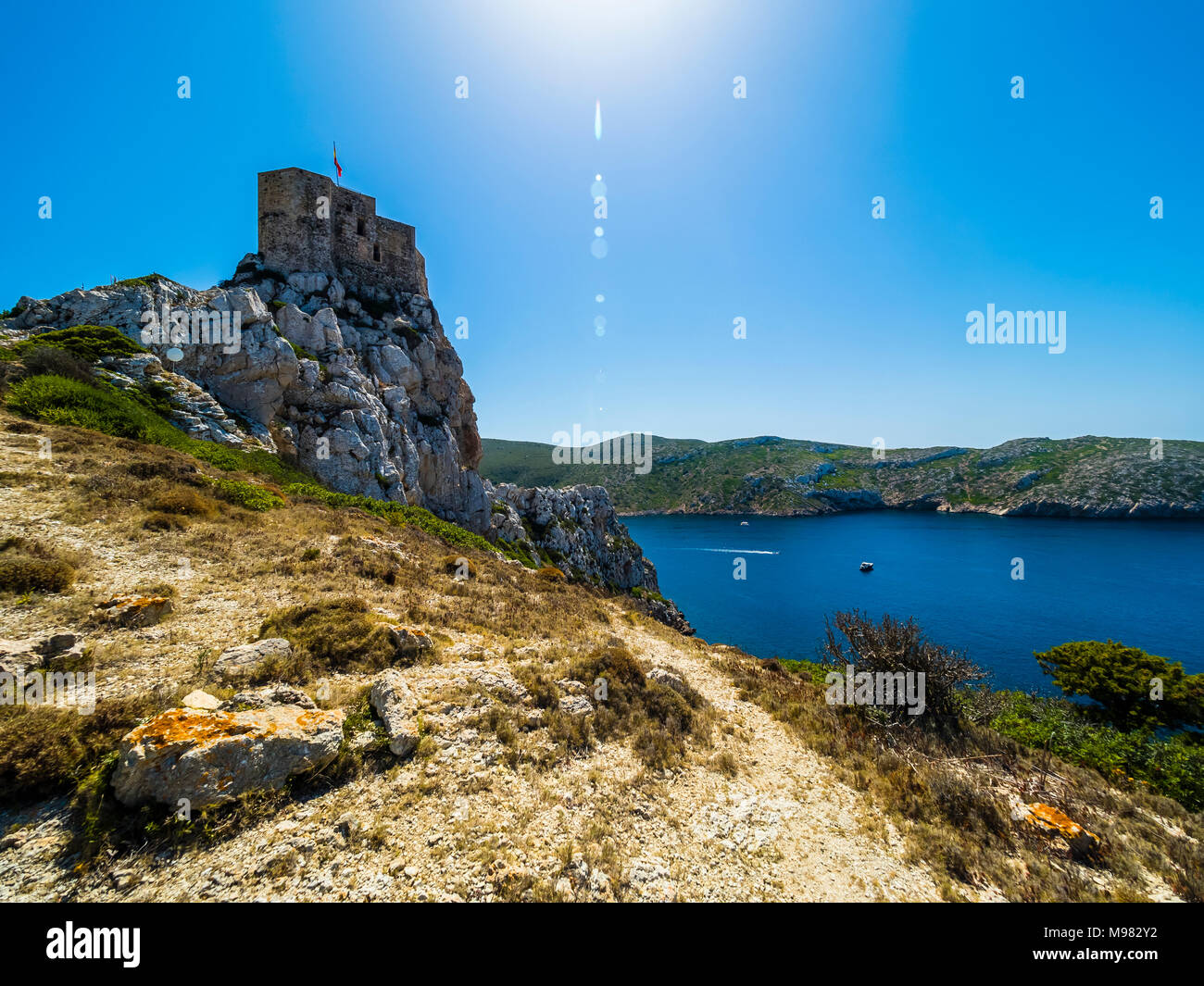 Spanien, Balearen, Mallorca, Colònia de Sant Jordi, Parque Nacional de Cabrera, Cabrera-Nationalpark, Cabrera-Archipel, die  Burg von Cabrera - Stock Image