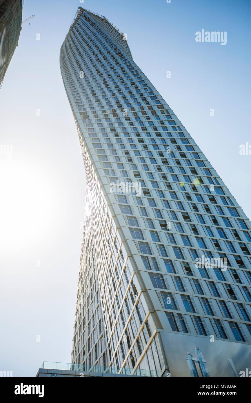 United Arab Emirates, Dubai, High-rise buildings, Cayan Tower - Stock Image