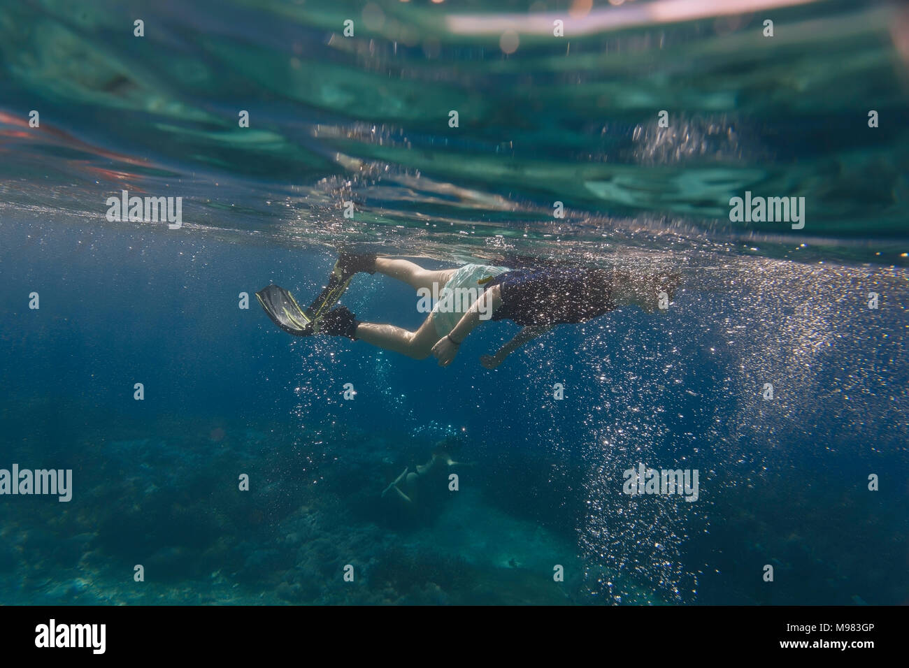 Underwater shot of man with fins and snorkeling - Stock Image