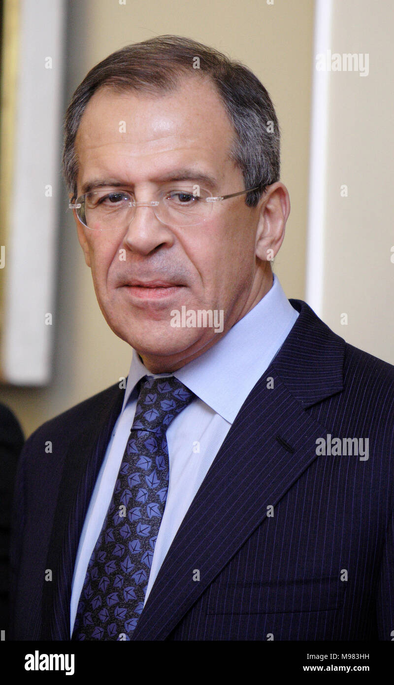 Warsaw, Masovia / Poland - 2006/10/05: Sergey Lavrov - Foreign Affairs Minister of Russian Federation during a diplomatic meeting with Cabinet of Poli - Stock Image