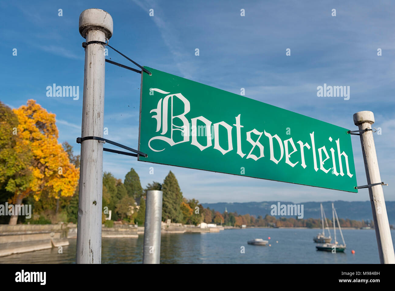 Deutschland, Bayern, Bad Schachen, Schild Bootsverleih - Stock Image