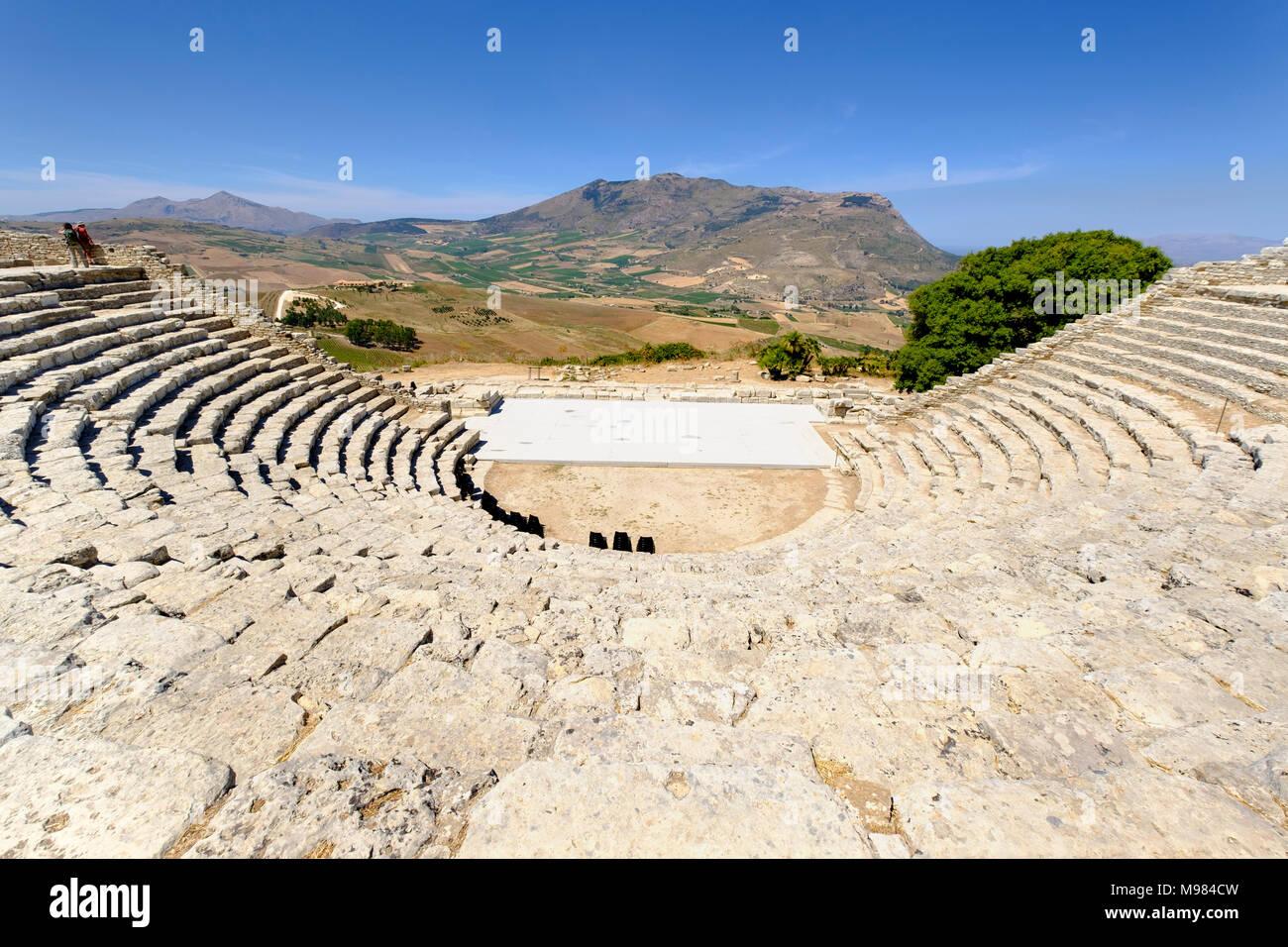 Theater von Segesta, griechische Tempelanlage Segesta, Provinz Trapani, Sizilien, Italien - Stock Image
