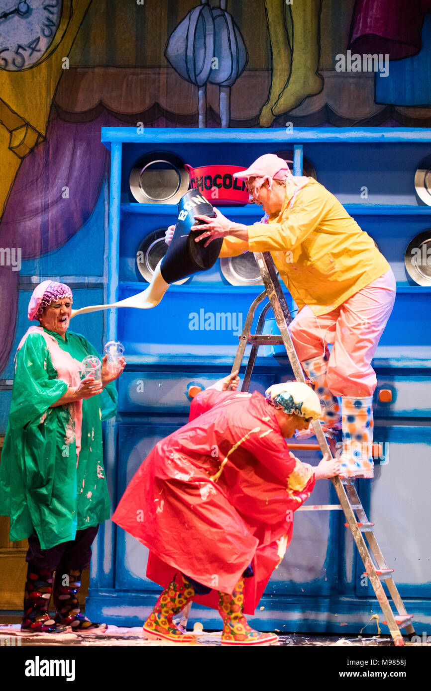 Actors in costume on stage performing in the 'slosh' scene  an amateur dramatic company production of the classic pantomime Cinderella, at Aberystwyth Arts Centre, 2018, UK - Stock Image