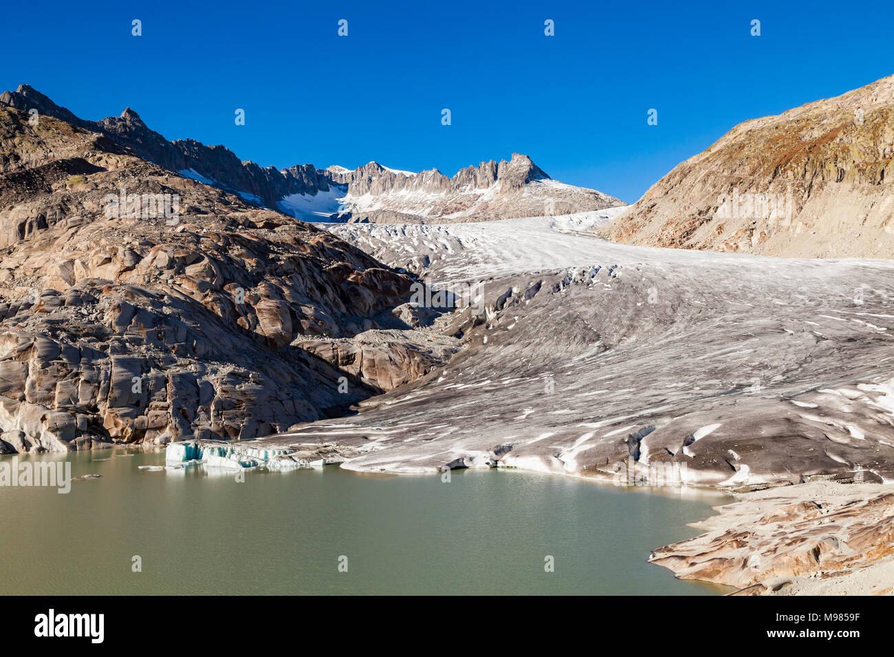 Schweiz, Kanton Wallis, Alpen, Gebirge, Rhonegletscher, Talgletscher, Gletscherzunge, Gletscherzungensee, See, Gletscher, Gletscherschmelze, Klimawand Stock Photo