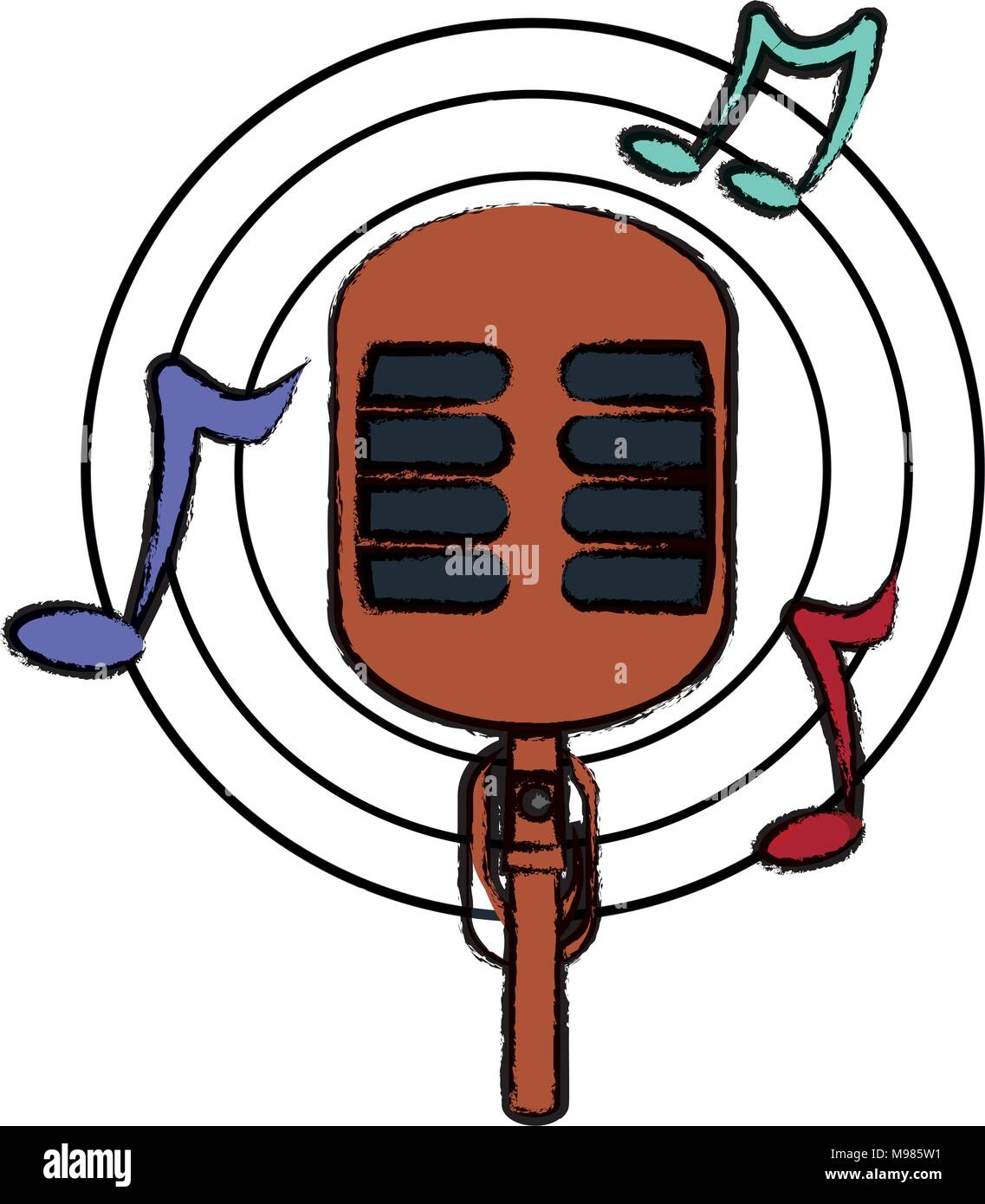 Illustration Musical Notes Microphone Stock Photos Illustration