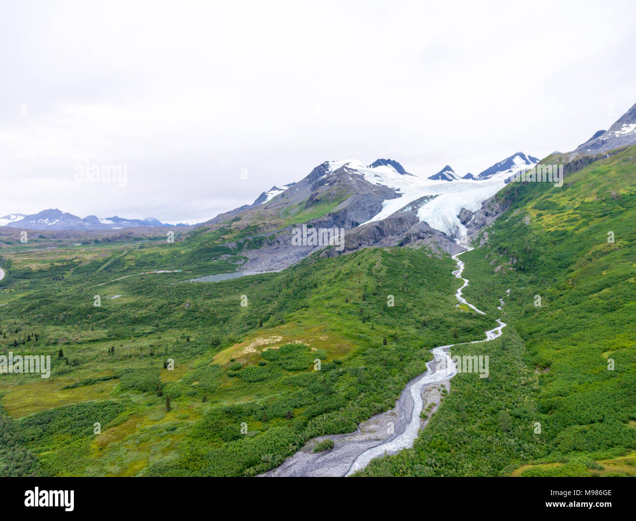 USA, Alaska, Aerial view of Worthington Glacier, Chugach Mountains - Stock Image