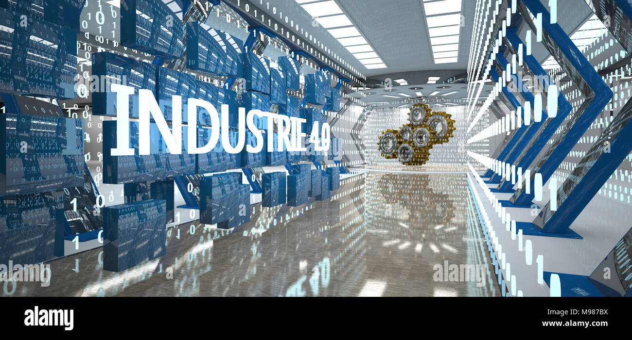 Industry 4.0 with bytes and gear wheels in the futuristic room, 3D Illustration - Stock Image