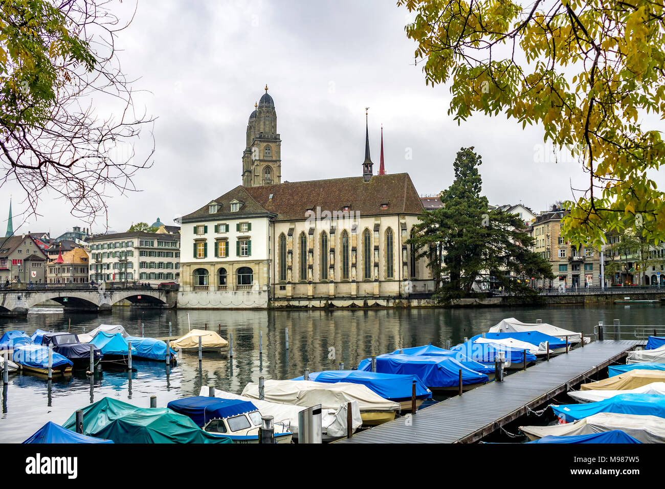 Switzerland, Zurich, view to mooring area at Limmat River - Stock Image