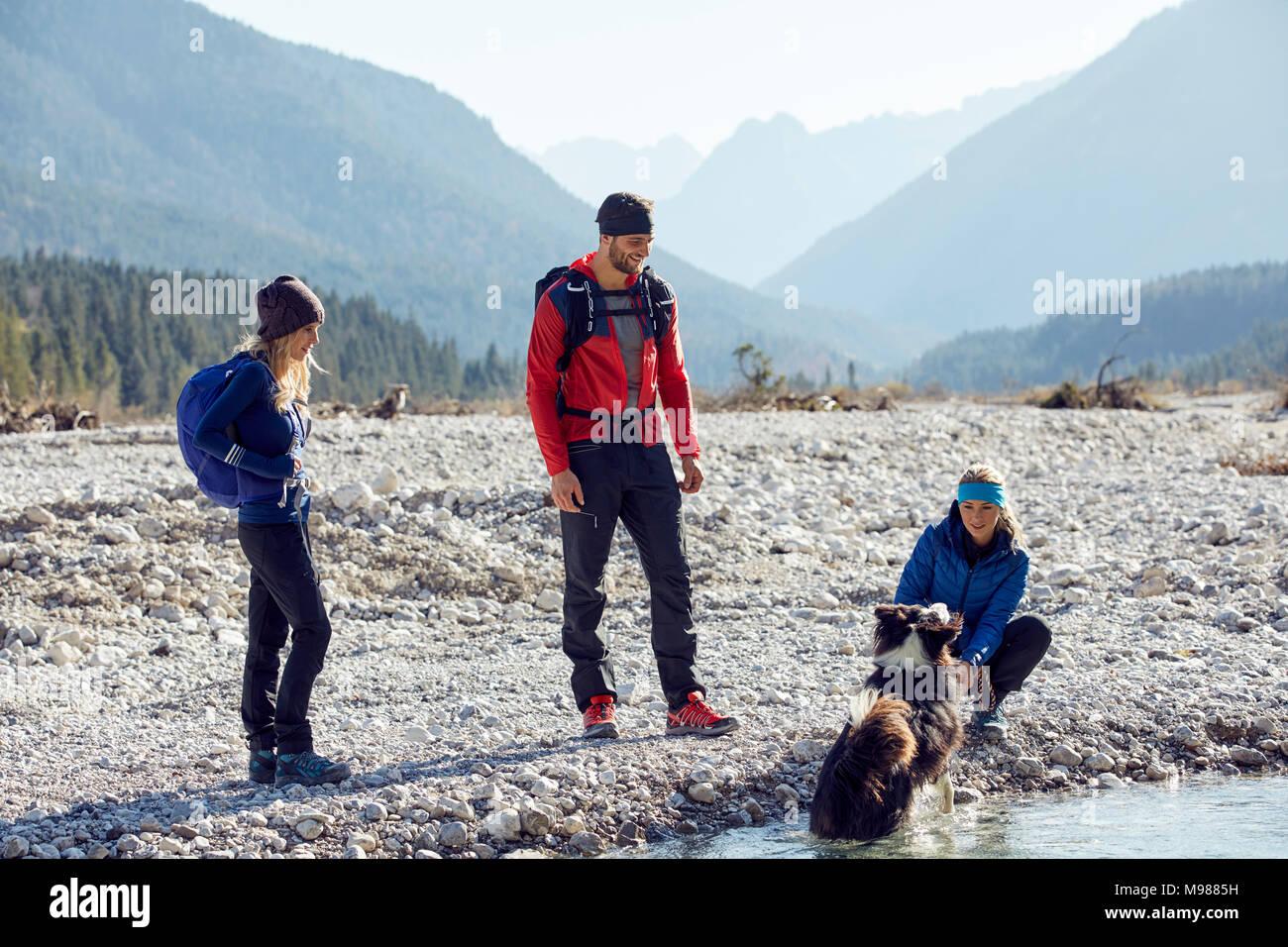 Germany, Bavaria, Karwendel, group of friends hiking with dog at the riverside - Stock Image