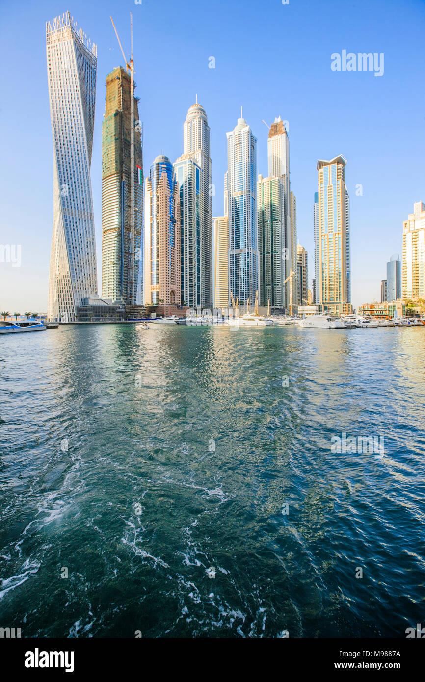 United Arab Emirates, Dubai, Dubai Marina with Cayan Tower left - Stock Image