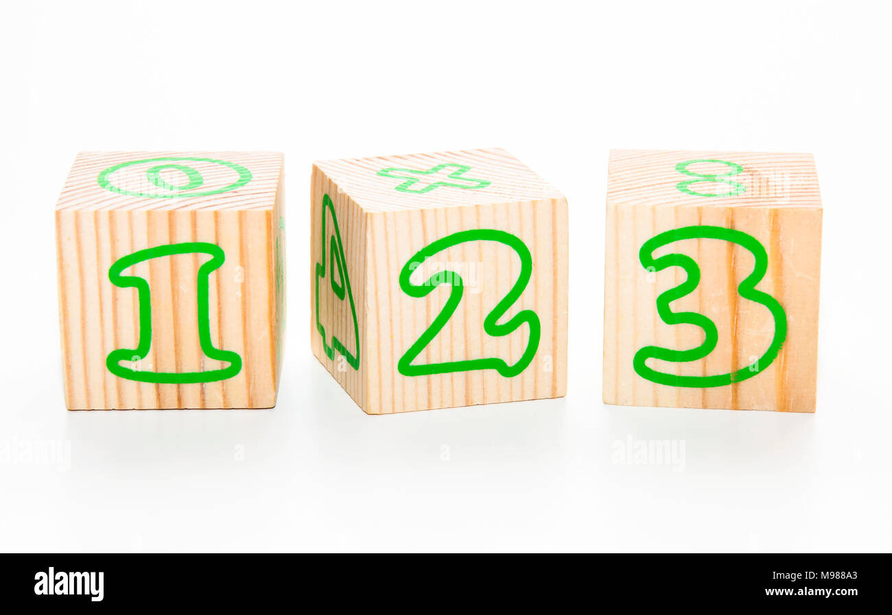 The Numbers wooden cubes isolated on white - Stock Image