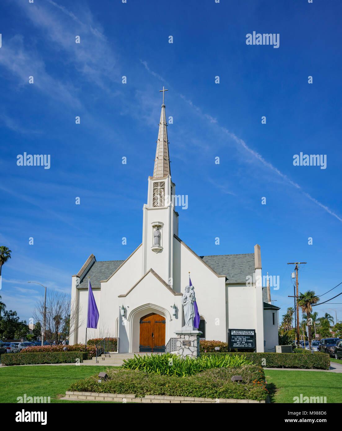 Exterior view of the Saint Bartholomew Catholic Church at Long Beach, Los Angeles County - Stock Image