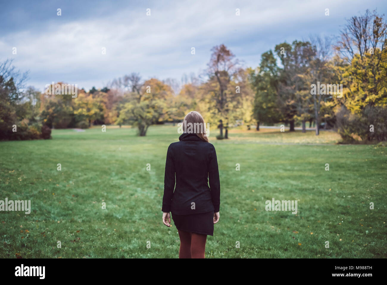 Back view of young woman walking on a meadow in autumnal park - Stock Image