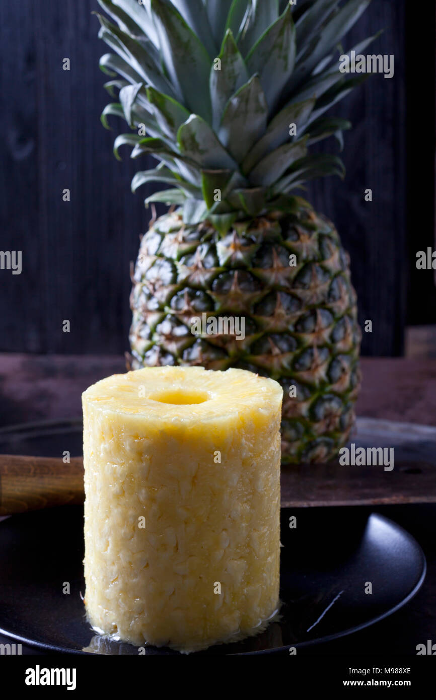Stack of pineapple slices - Stock Image