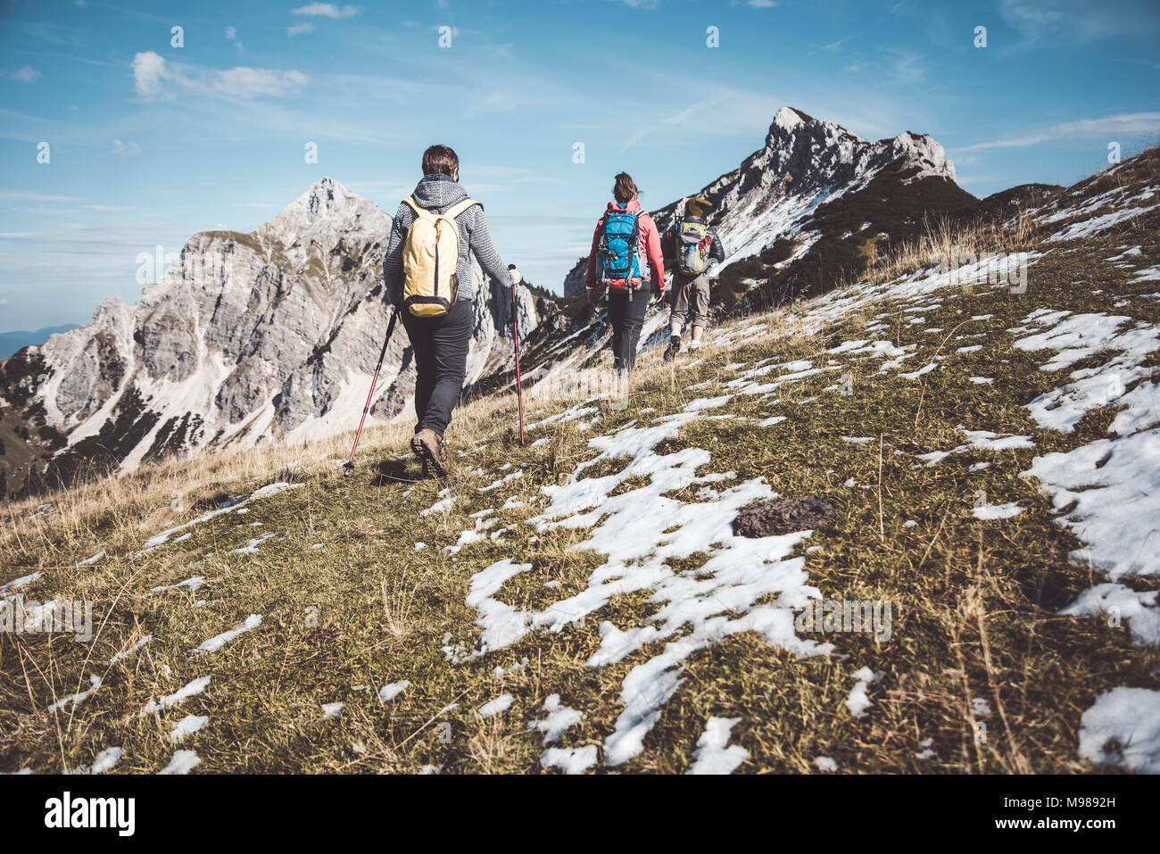 Austria, Tyrol, three hikers walking in the mountains - Stock Image