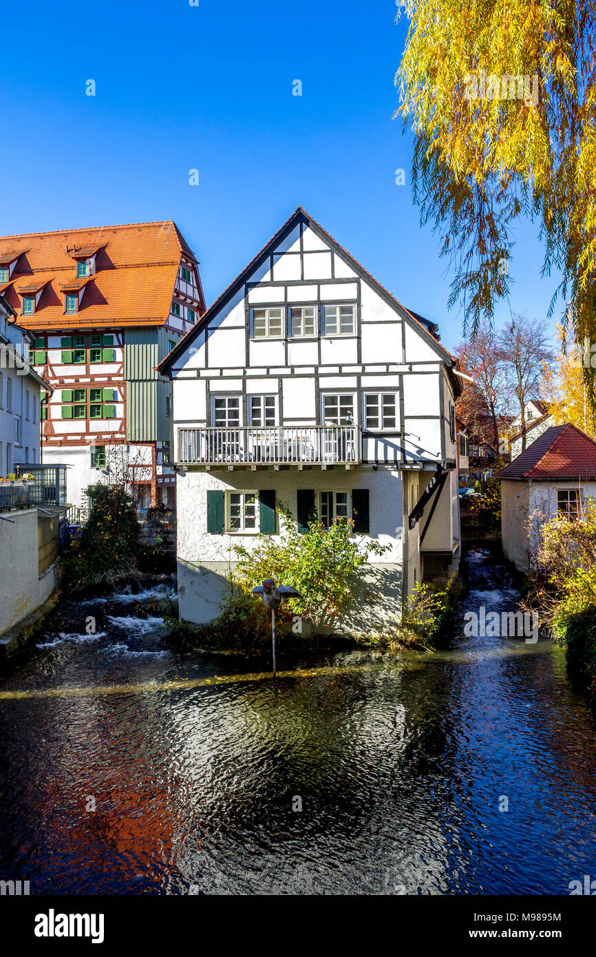 Germany, Baden-Wuerttemberg, Ulm, Fischerviertel and River Blau - Stock Image