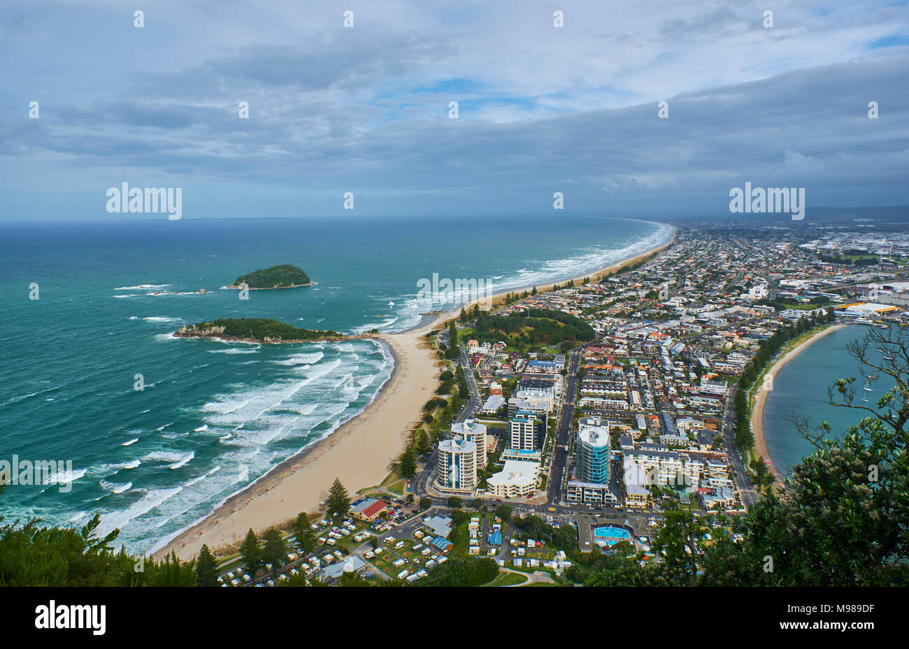 New Zealand, North Island, Tauranga as seen from Mount Maunganui - Stock Image