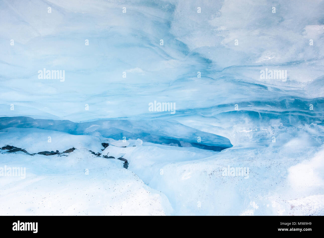USA, Alaska, Valdez Glacier, Ice cave, ice crevice - Stock Image
