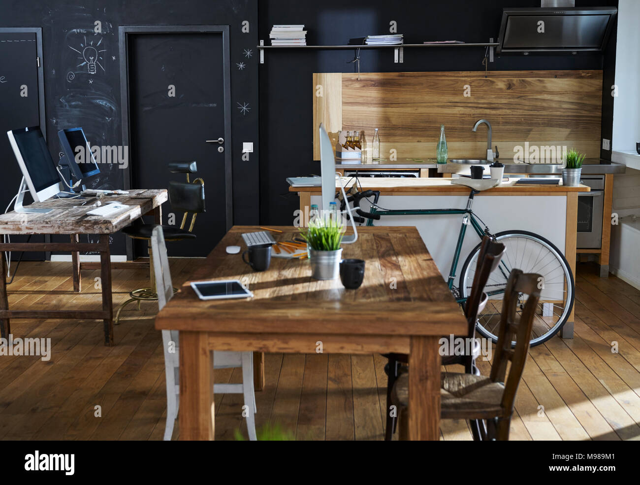 Modern office interior with kitchen - Stock Image