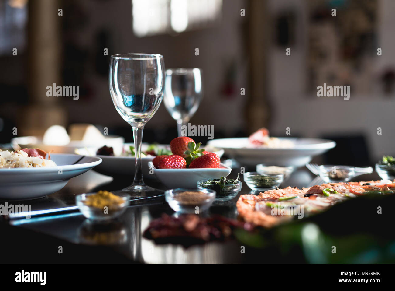 Italian food, pizza, salads and risotto - Stock Image