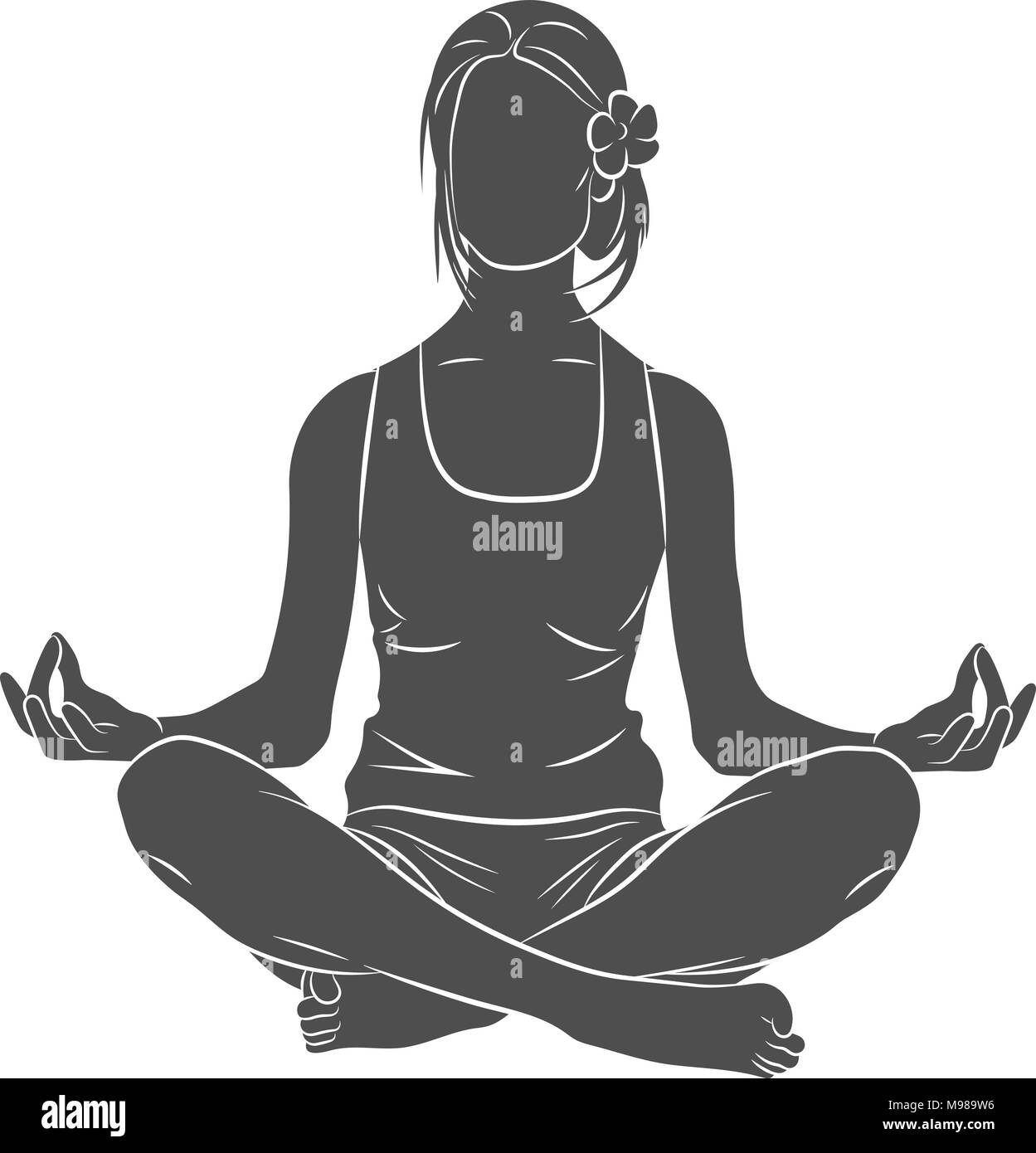 Yoga pose meditating - Stock Image