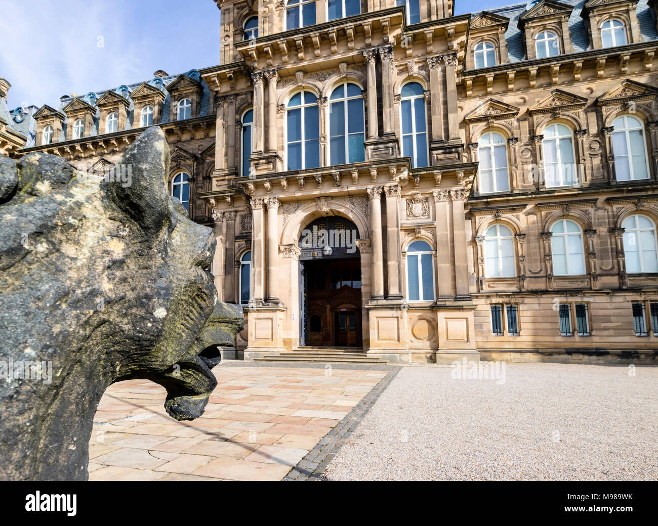 Heraldic Statue Watching Over the Entrance to the Bowes Museum, Barnard Castle, Teesdale, County Durham, UK. - Stock Image