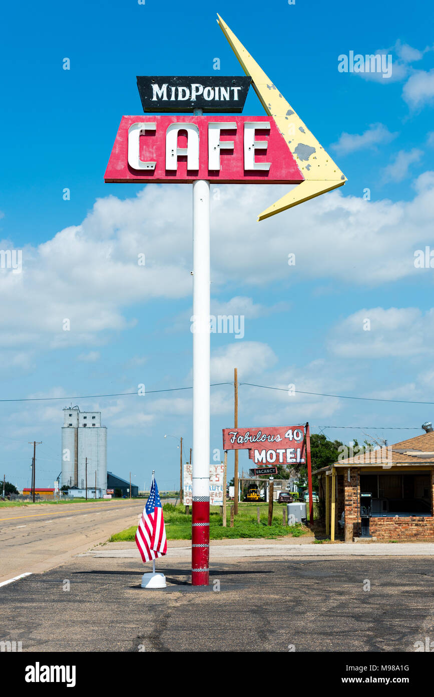 Adrian, Texas - JULY 18, 2014: Midpoint Cafe on Route 66, halfway between Los Angeles and Chicago. Fabulous 40 Motel. - Stock Image