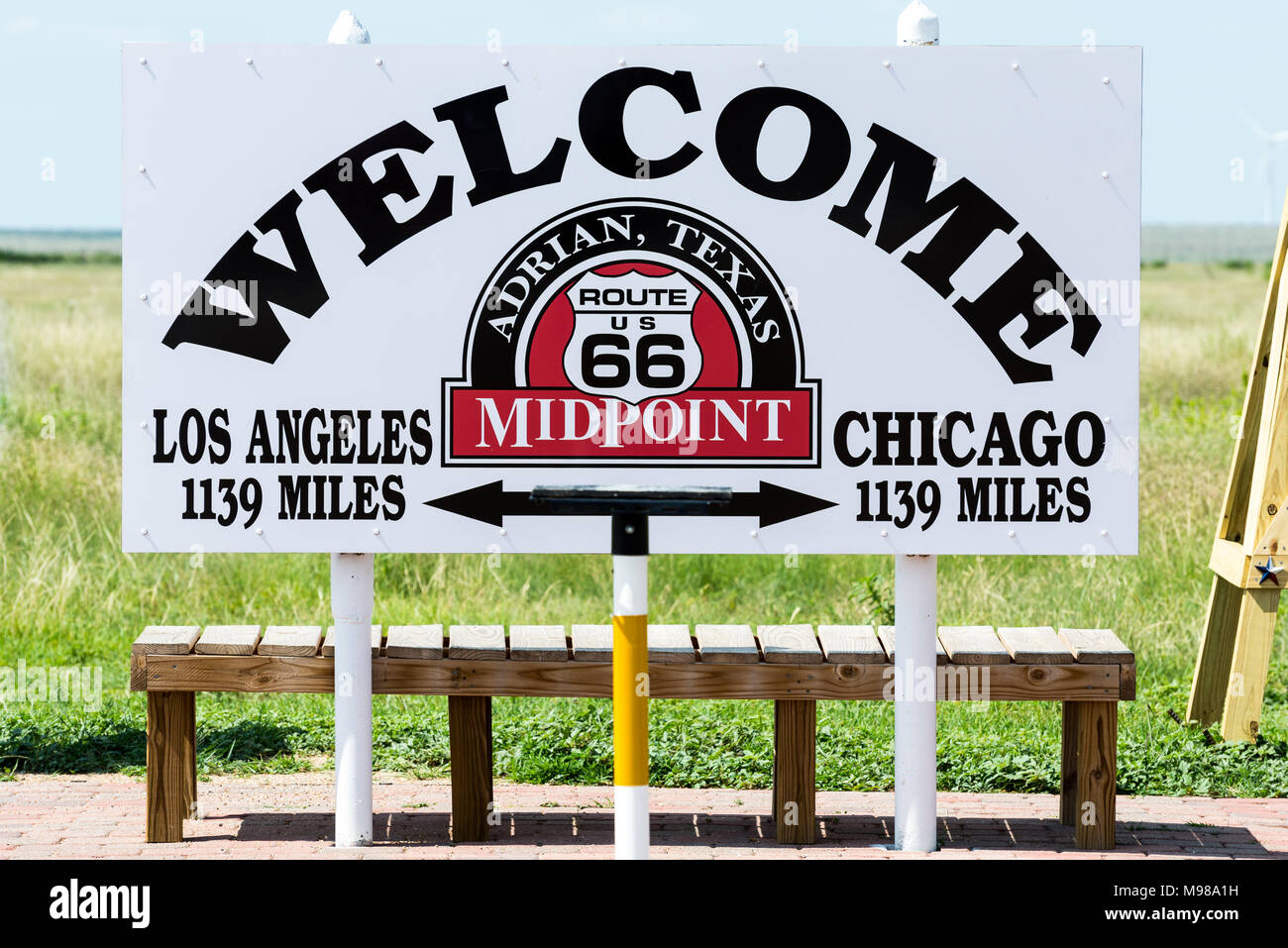 Midpoint on Route 66 in Adrian, Texas. Halfway between Los Angeles and Chicago. - Stock Image