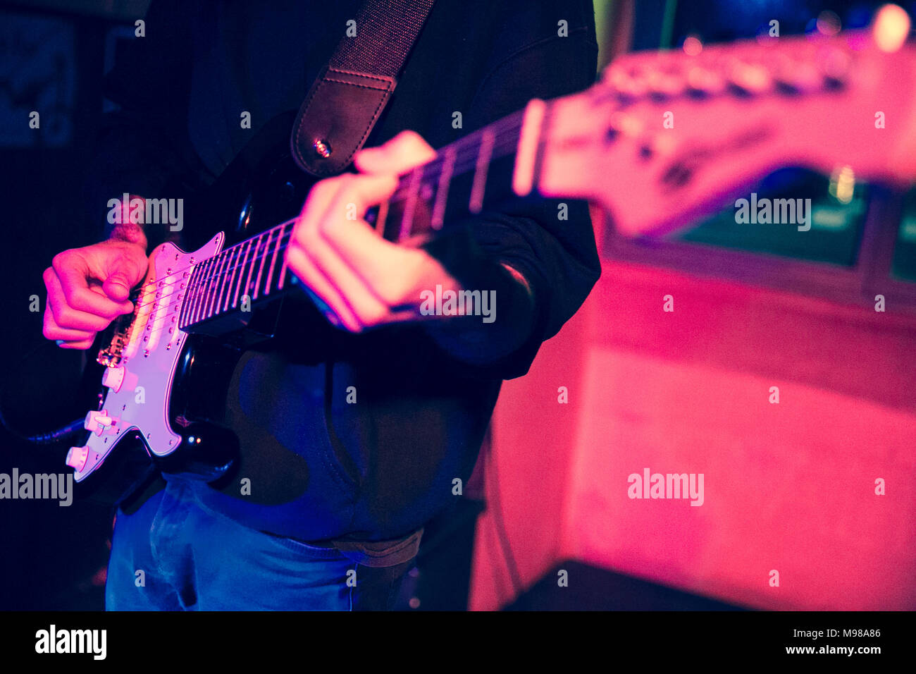 detail of the electric guitar of the Pistoia singer-songwriter Lorenzo Maffucci during his live at the Arci Camalli in Imperia on January 28, 2018 - Stock Image
