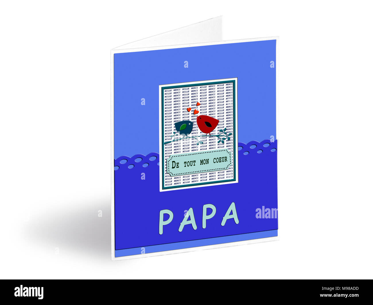 French happy fathers day card stock photos french happy fathers greetings card for the father day in french text with silk ribbons in background stock m4hsunfo