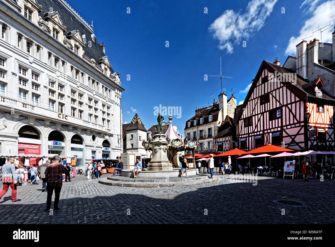 Place Francois Rude is a popular meeting place in central Dijon, Burgundy Stock Photo