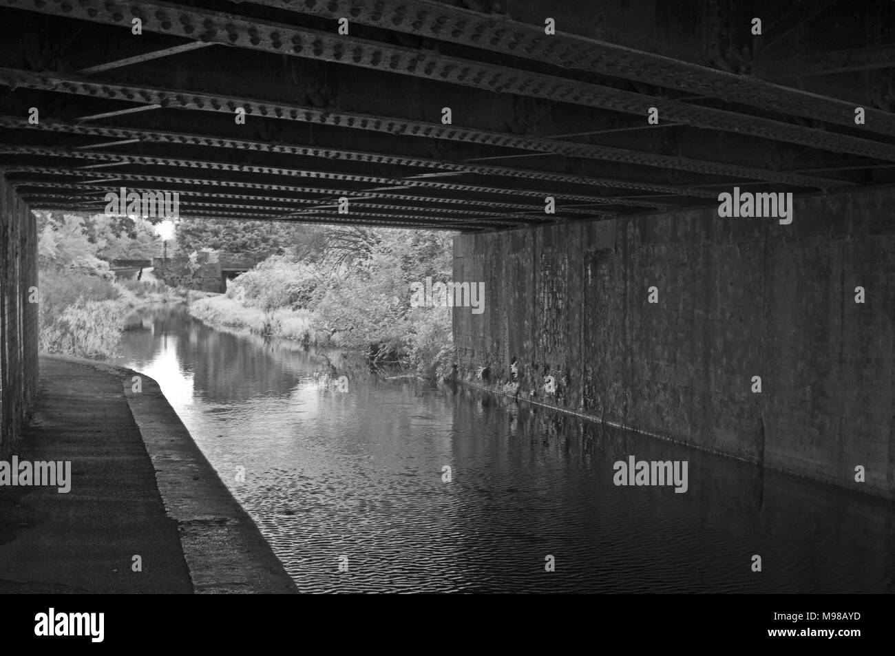 Infared view looking out from under a railway bridge along the Bridgewater and Taunton canal at Obridge in Taunton, Somerset, UK - Stock Image