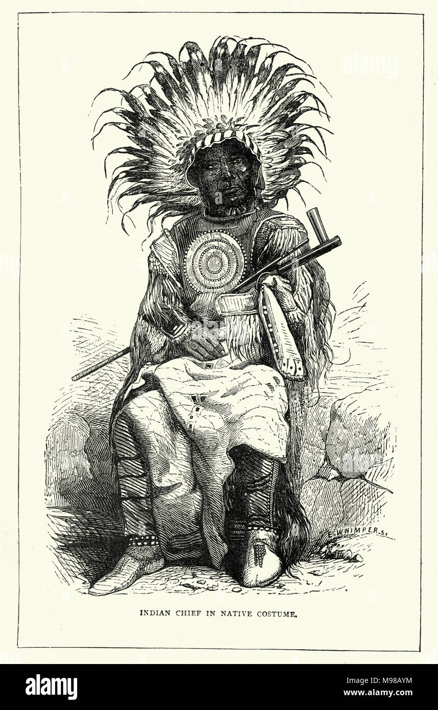 Native American Cheif in period costume - Stock Image