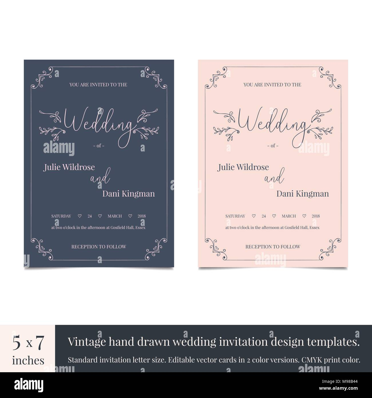 Hand Drawn Doodle Wedding Invitations Design Template