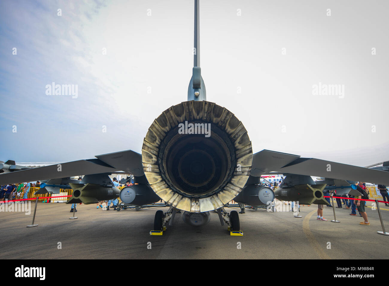 Singapore - Feb 11, 2018. Back view of Lockheed Martin F-16D Fighting Falcon fighter aircraft of Singapore Air Force (RSAF) in Changi, Singapore. - Stock Image