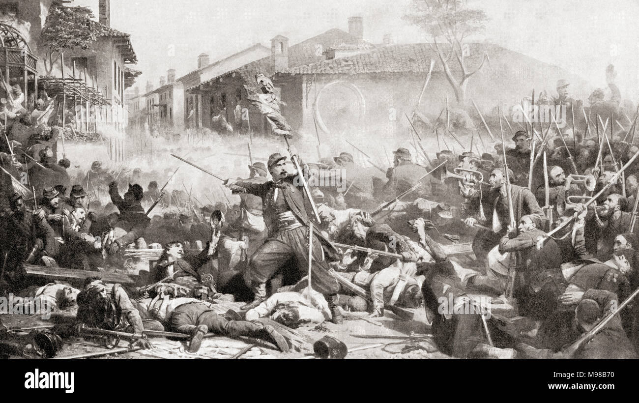The Battle of Magenta, 4 June 1859 during the Second Italian War of Independence.  From Hutchinson's History of the Nations, published 1915 - Stock Image
